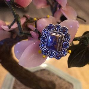 Vintage 925 copper purple turquoise ring